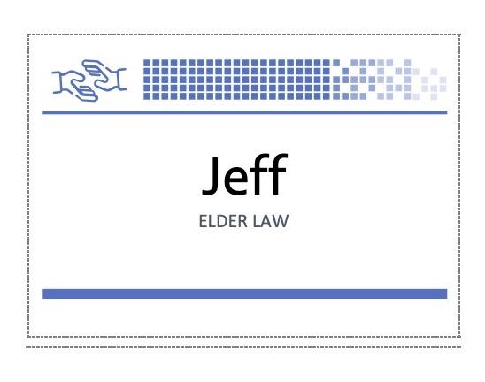Name badge reading Jeff - Elder Law